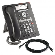 Avaya 1608 IP Telephone in Black with patch lead