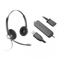 Plantronics HW121N Entera Wideband Binaural Headset + DA40 USB Adapter