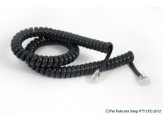 Universal Curly Telephone Cord Short Tail - Charcoal